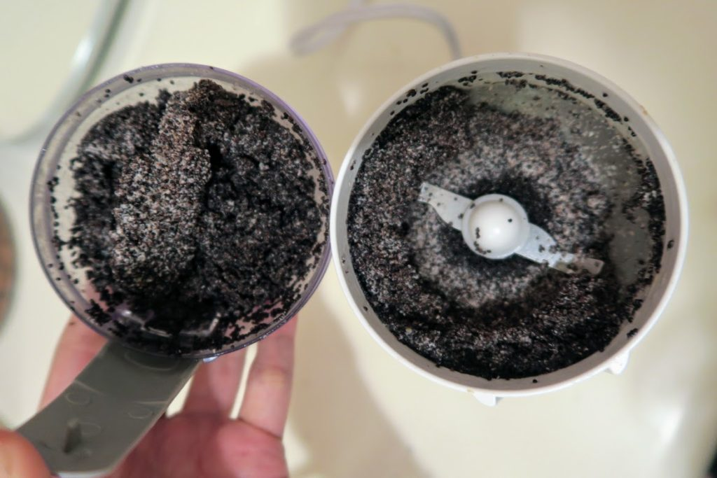 Poppy seeds ground with some water in a coffee grinder