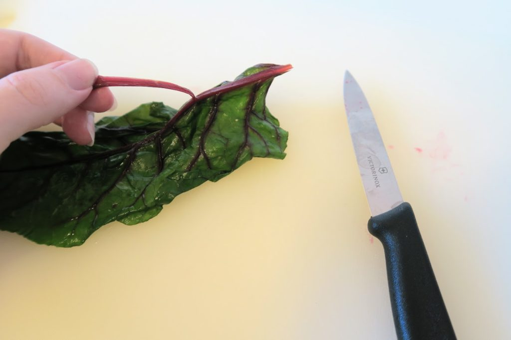 Trimming the thicker part of the stem off of the beet leaf