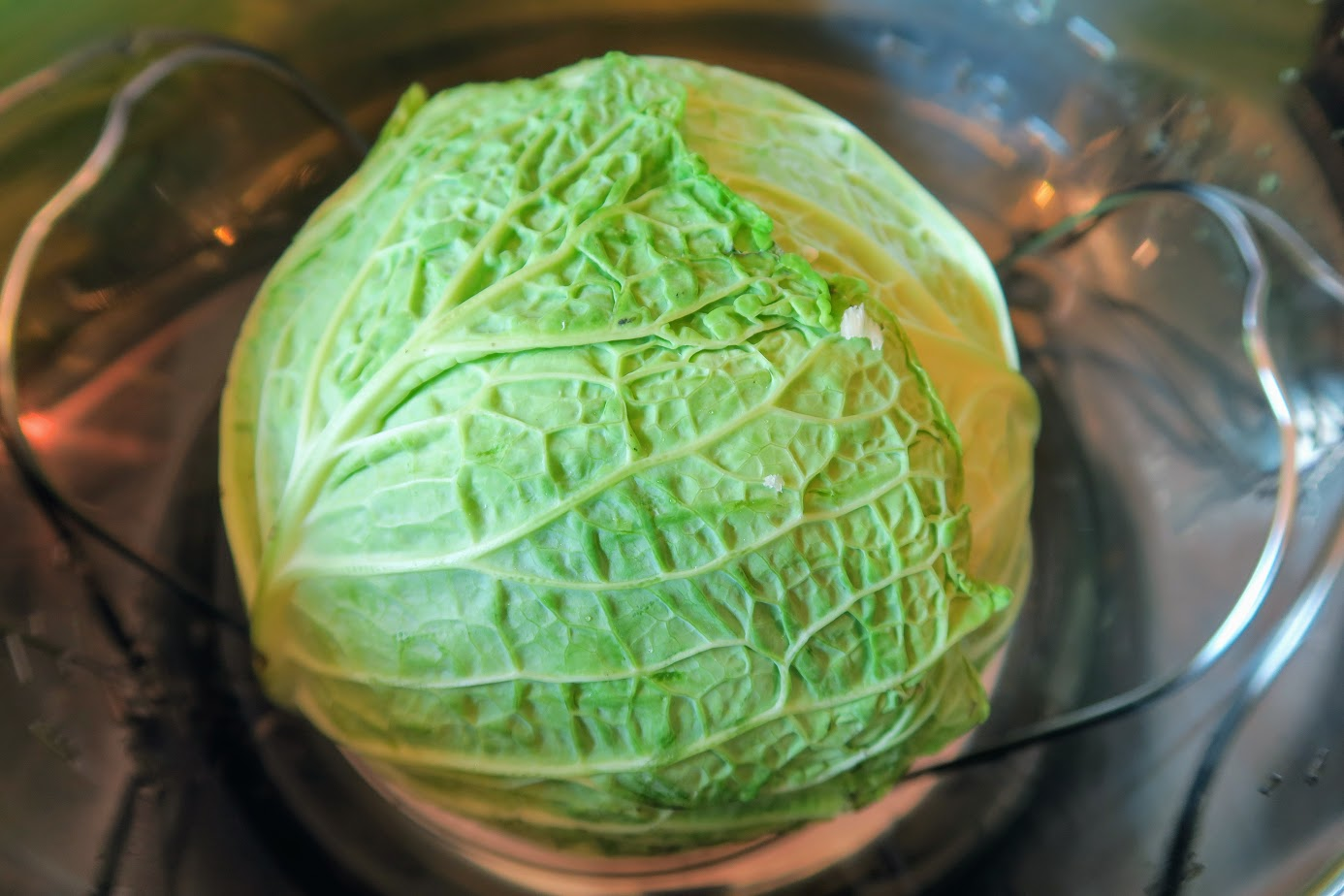 Cabbage on the steamer insert inside the Instant Pot with the core side down towards the water