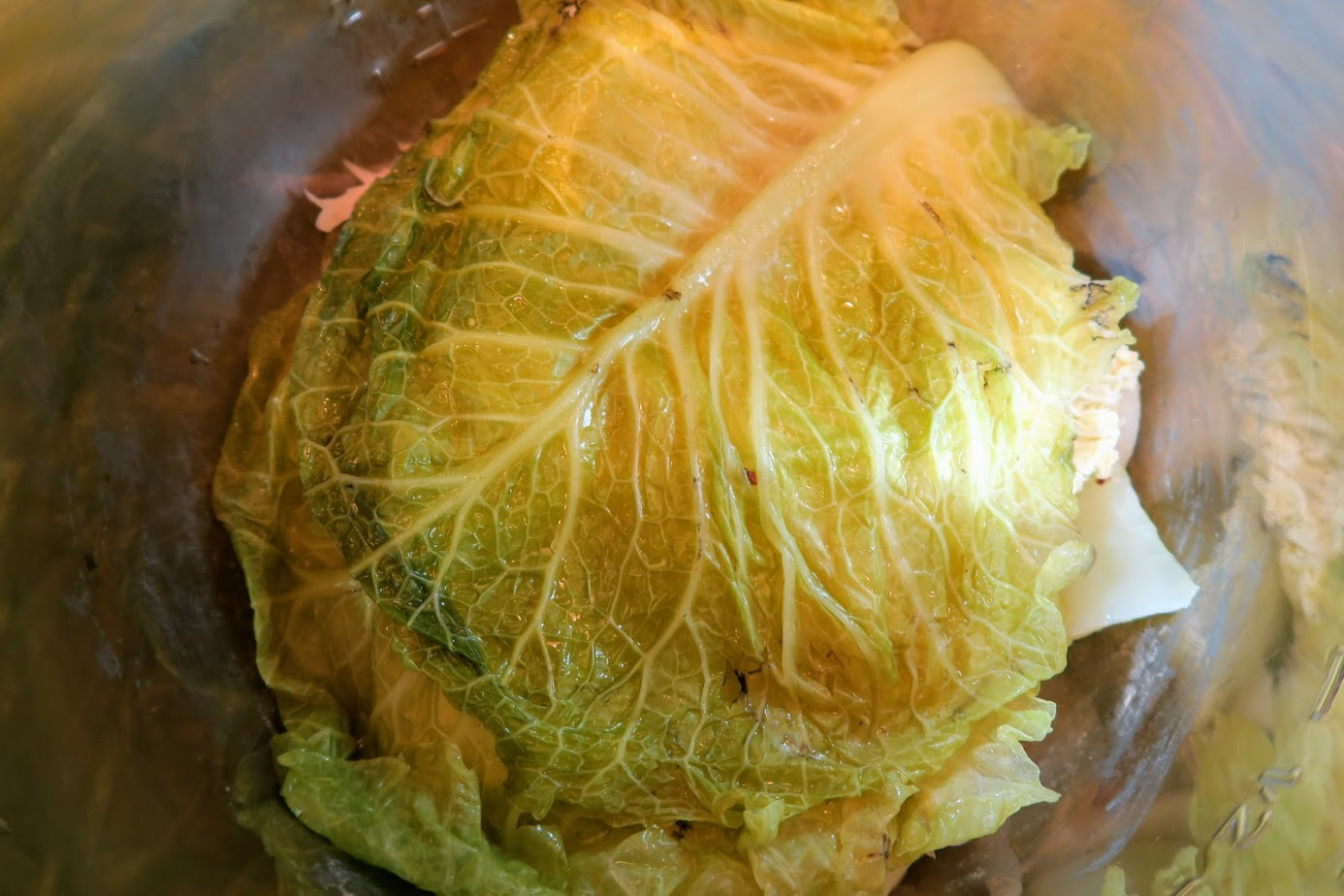 Two large cabbage leaves form the base and cover the scraps below.