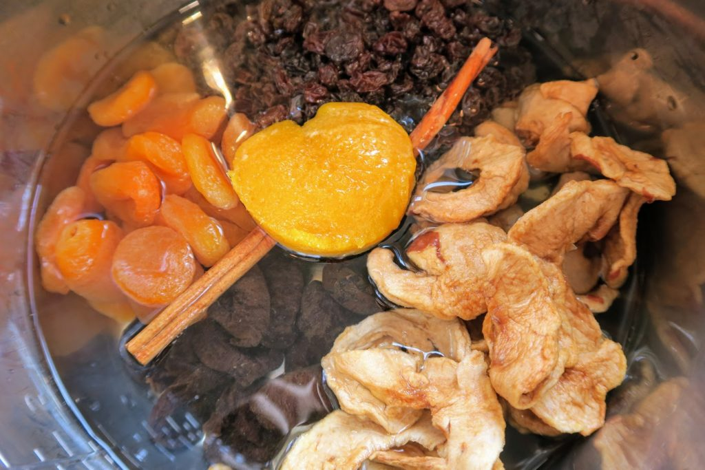 Dried fruit with 4 cups of water added and orange juice concentrate