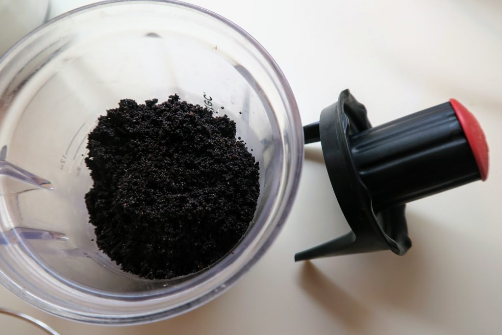 Poppy seeds in a food grinder