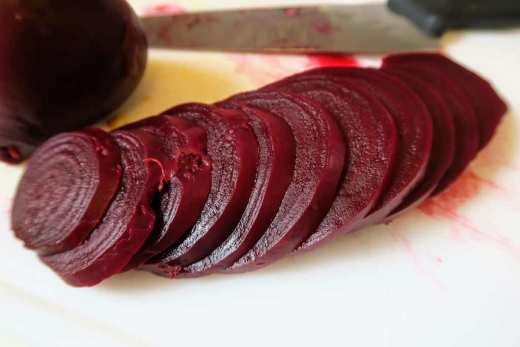 A beet sliced into thin slices