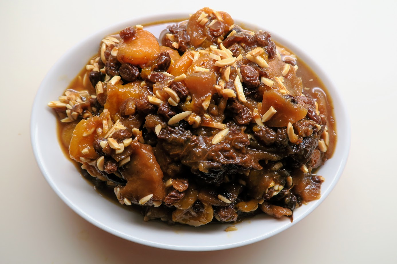 Compote - stewed fruit with almonds ready to serve
