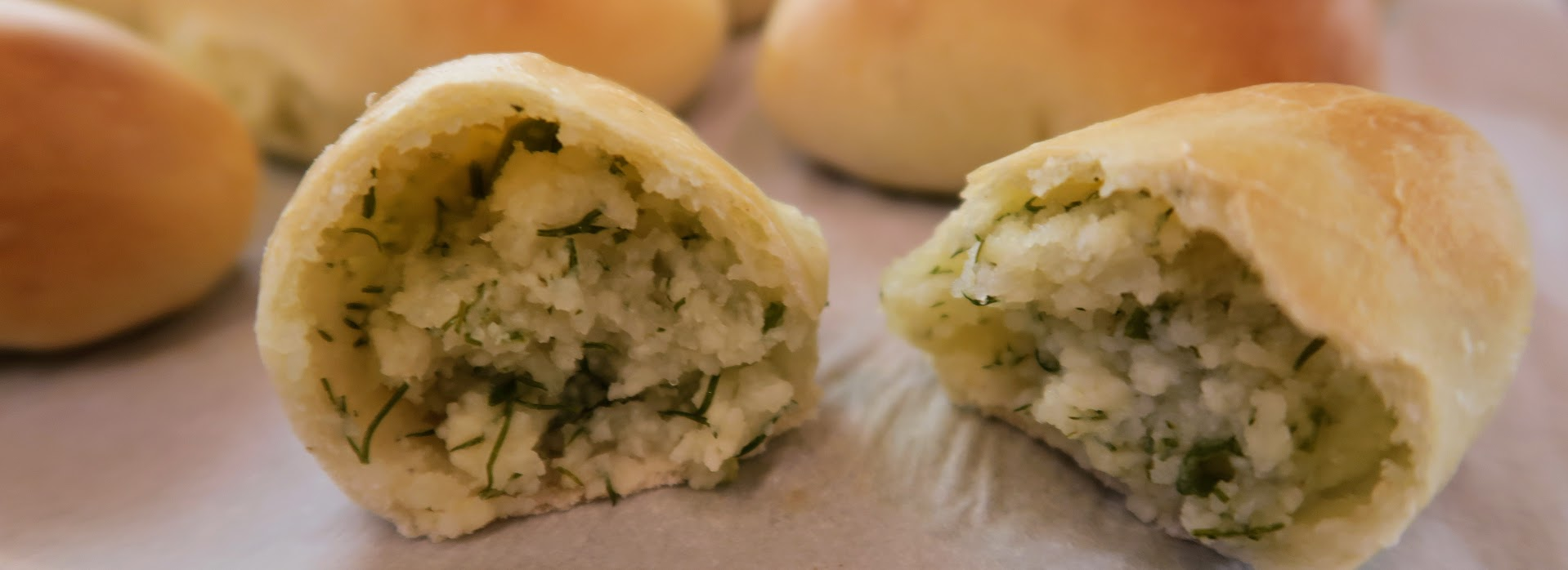 Potato, cheese and dill filling inside a Pyrizhke