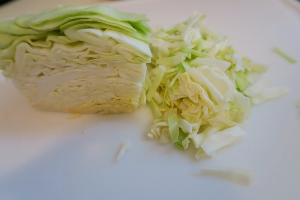 A quarter of a small cabbage, chopped
