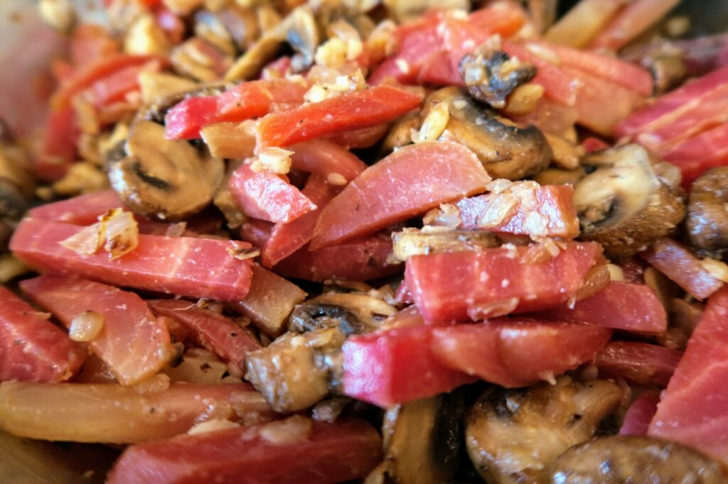 Beets and mushrooms combined with garlic