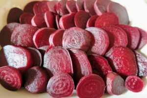 Beets arranged in a flat dish